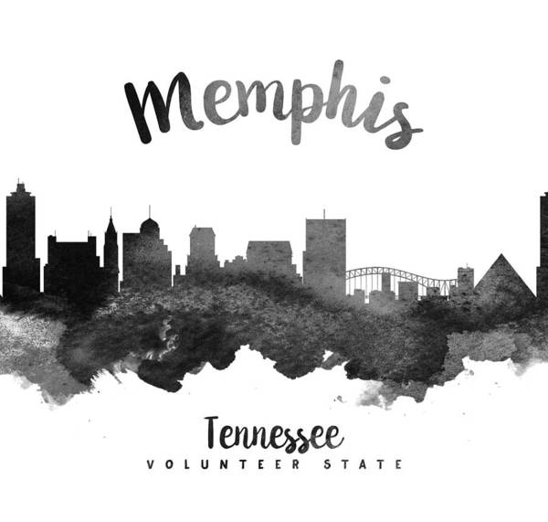 Memphis Painting - Memphis Tennessee Skyline 18 by Aged Pixel
