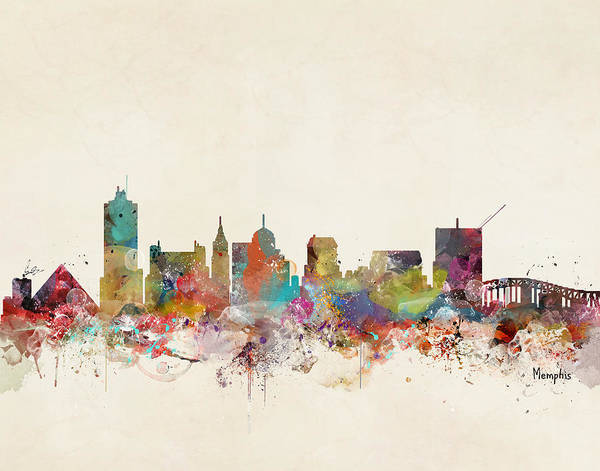 Tennessee Wall Art - Painting - Memphis Tennessee Skyline by Bri Buckley