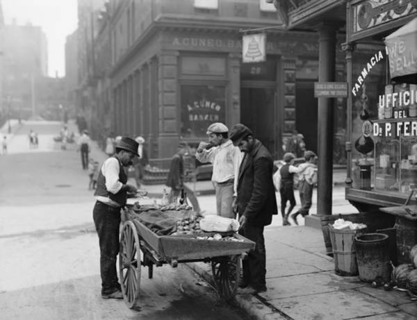 Tenement Photograph - Men Eating Fresh Clams From A Pushcart by Everett
