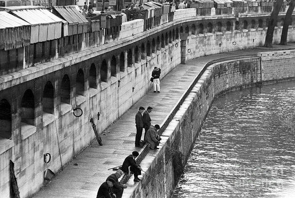 Wall Art - Photograph - Men Fishing In The Seine River, Paris, 1974 by French School