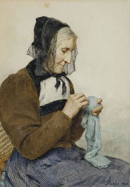 Mending Painting - Mending Grandmother When Stocking by MotionAge Designs