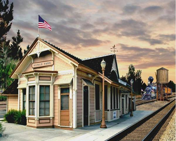 Railroad Station Painting - Menlo Park Station by Ron Chambers