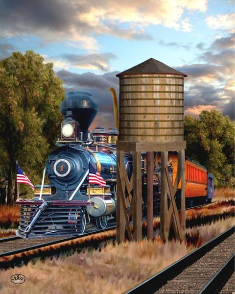 Railroad Station Painting - Menlo Park Tower by Ron Chambers
