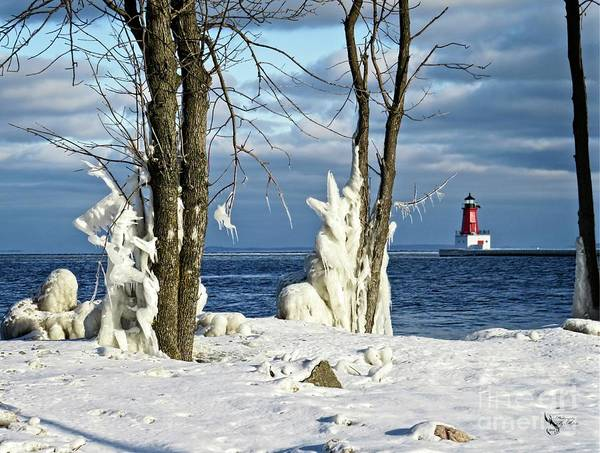 Photograph - Menominee Lighthouse Ice Sculptures by Ms Judi