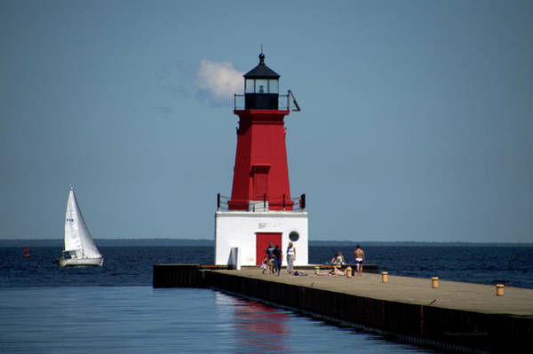 Wall Art - Photograph - Menominee Pierhead Lighthouse Wisconsin With Sail Boat by Thomas Woolworth
