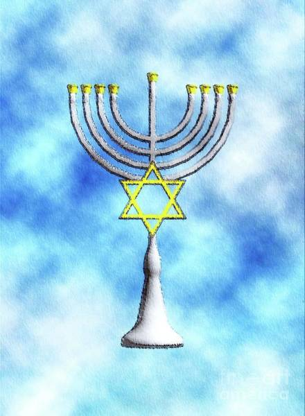 Wall Art - Painting - Menorah by Mary Bassett