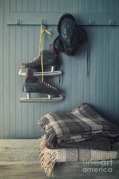 Photograph - Men's Vintage Skates And Hat Hanging On Hook  by Sandra Cunningham