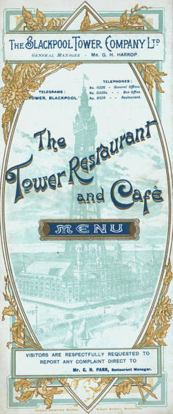 Wall Art - Painting - Menu For Lunch At Blackpool Tower Restaurant by English School