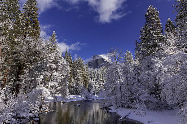 Wall Art - Photograph - Merced River Covered In Freshly Fallen Snow With A View Of Half  by Bridget Calip