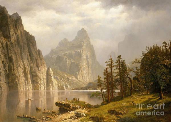 Mountain Range Painting - Merced River, Yosemite Valley, 1866 by Albert Bierstadt