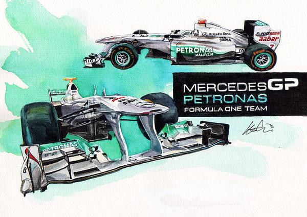 Mercedes Painting - Mercedes Amg Petronas Formula-1 by Yoshiharu Miyakawa