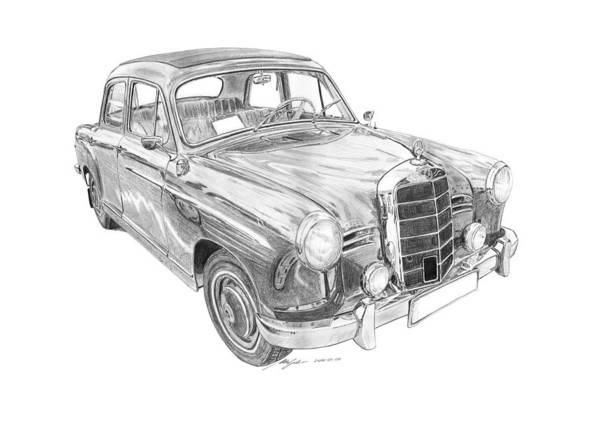 Wall Art - Drawing - Mercedes-benz 180 by Gabor Vida