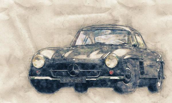Wall Art - Mixed Media - Mercedes-benz 300 Sl 1 - Grand Tourer - Roadster - Automotive Art - Car Posters by Studio Grafiikka