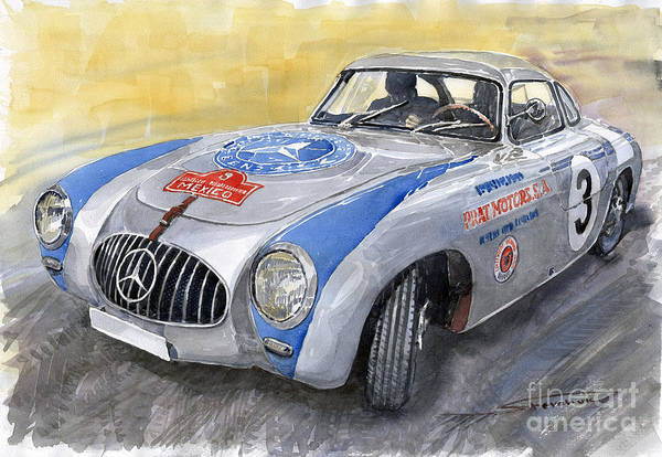 Watercolour Painting - Mercedes Benz 300 Sl 1952 Carrera Panamericana Mexico  by Yuriy Shevchuk