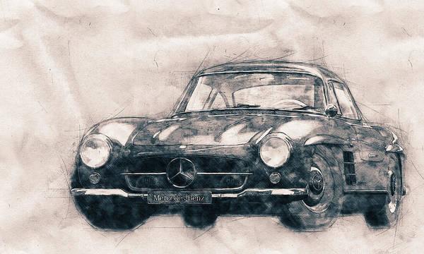 Wall Art - Mixed Media - Mercedes-benz 300 Sl - Grand Tourer - Roadster - Automotive Art - Car Posters by Studio Grafiikka
