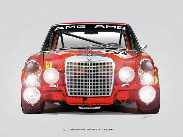 Wall Art - Drawing - Mercedes-benz 300sel 6.3 Amg by Alain Jamar