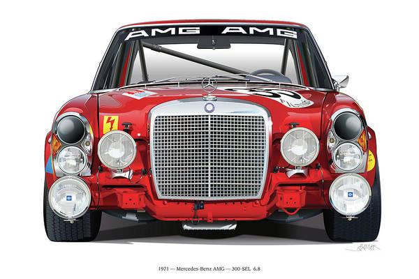 Wall Art - Digital Art - Mercedes-benz 300sel 6.3 On White by Alain Jamar