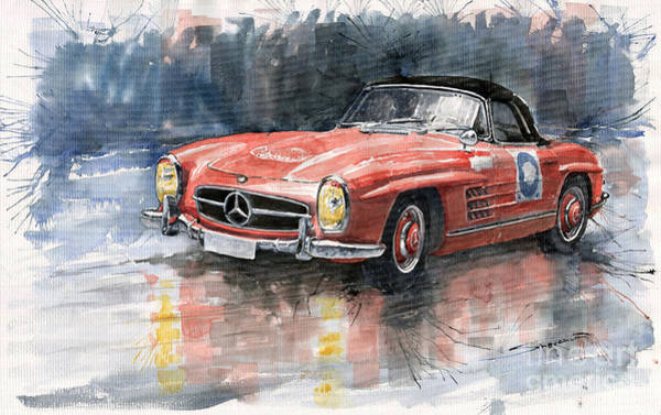 Watercolours Wall Art - Painting - Mercedes Benz 300sl by Yuriy Shevchuk