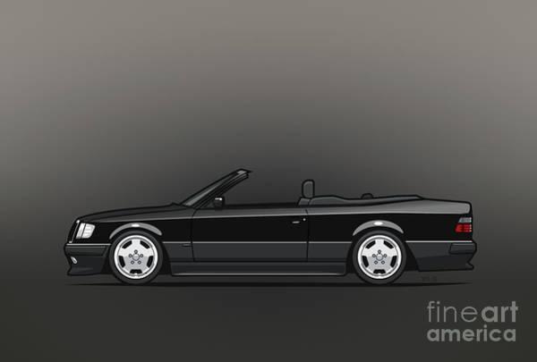 Made In Digital Art - Mercedes Benz Amg A124 W124 300e E-class Black Cabrio by Monkey Crisis On Mars