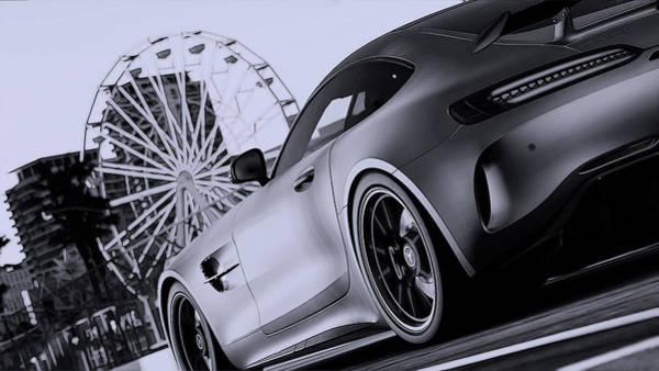 Photograph - Mercedes-benz Amg Gtr At Long Beach - Monochrome by Andrea Mazzocchetti