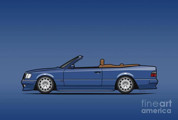 Made In Digital Art - Mercedes Benz Carlsson A124 W124 300e E-class Blue Cabrio by Monkey Crisis On Mars
