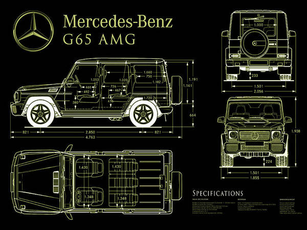 Blueprint Digital Art - Mercedes Benz G 65 Blueprint Black by Jon Neidert
