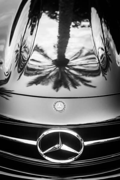 Wall Art - Photograph - Mercedes-benz Grille Emblem -0180bw by Jill Reger