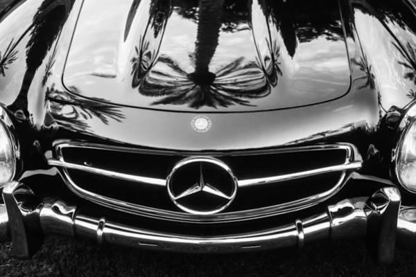 Wall Art - Photograph - Mercedes-benz Grille Emblem -0185bw by Jill Reger