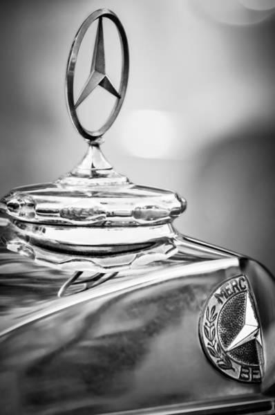 Wall Art - Photograph - Mercedes-benz Hood Ornament - Emblem -0961bw by Jill Reger
