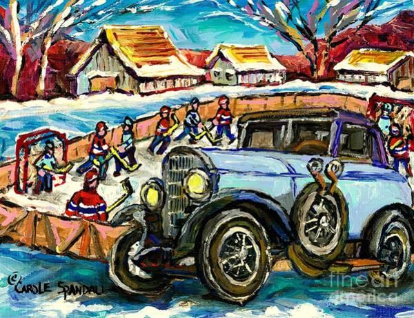 Painting - Mercedes Benz Model K Canadian Winter Country Scene Art Outdoor Hockey Rink Painting Carole Spandau  by Carole Spandau