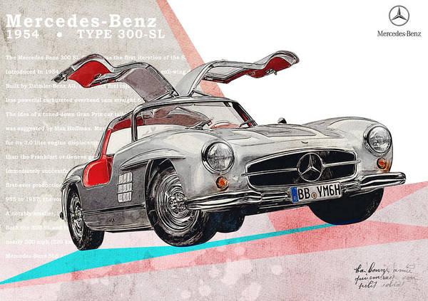 Mercedes-benz 300 Sl Wall Art - Digital Art - Mercedes-benz Sl 300   by Yurdaer Bes