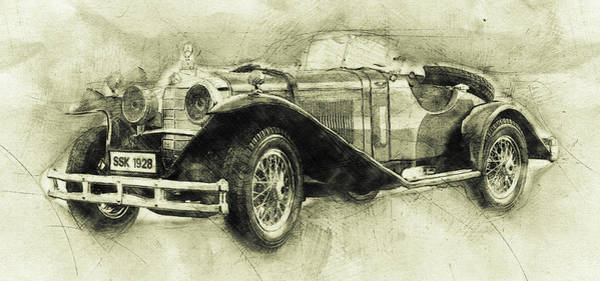 Four Wheeler Mixed Media - Mercedes-benz Ssk 1 - 1928 - Automotive Art - Car Posters by Studio Grafiikka