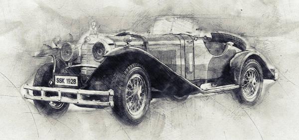 Four Wheeler Mixed Media - Mercedes-benz Ssk - 1928 - Automotive Art - Car Posters by Studio Grafiikka
