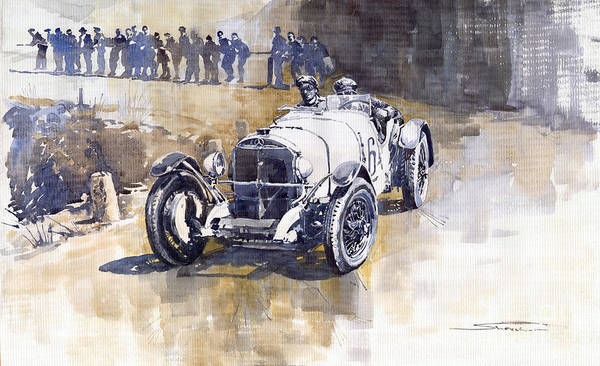 Watercolour Painting - Mercedes Benz Ssk 1930 Rudolf Caracciola by Yuriy Shevchuk