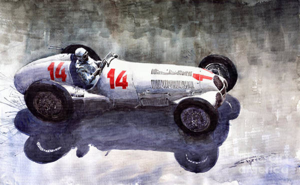 Wall Art - Painting - Mercedes Benz W 125 1937 Swiss Gp R Caracciola by Yuriy Shevchuk
