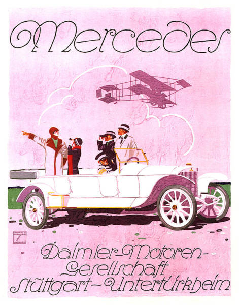 Vintage Automobiles Mixed Media - Mercedes Daimler - Stuttgart - Vintage Automobile Advertising Poster by Studio Grafiikka