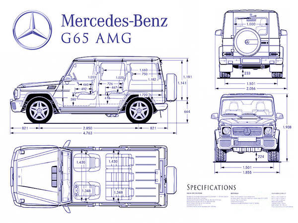 Mercedes Photograph - Mercedes G65 Amg Blueprint by Jon Neidert