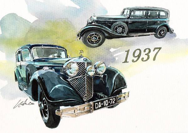 Mercedes Painting - Mercedes Pullman Limousine by Yoshiharu Miyakawa
