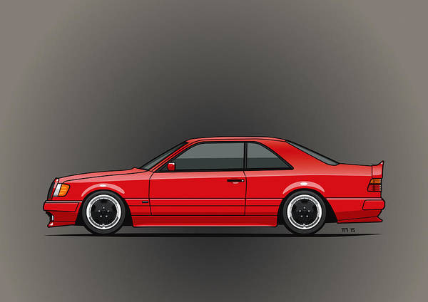 Wall Art - Mixed Media - Mercedes W124 300e Red Amg Hammer Widebody Coupe by Monkey Crisis On Mars