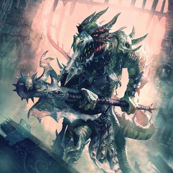 Lizards Digital Art - Mercenary Halberdier by Ryan Barger