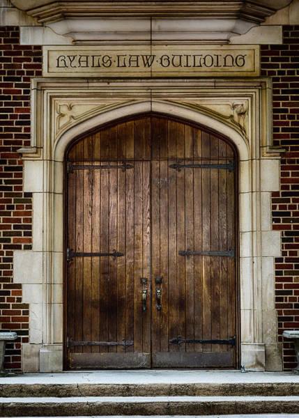 Wall Art - Photograph - Mercer University - Ryals Law Building Door by Stephen Stookey