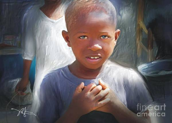 Haiti Painting - Merci  Thank You by Bob Salo