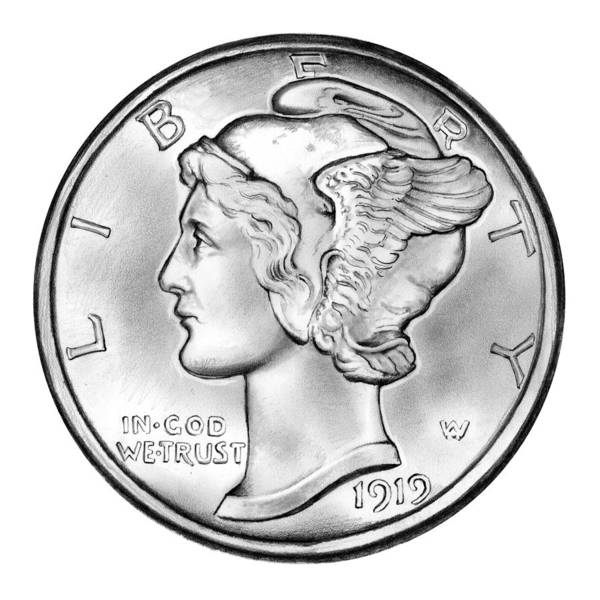 Wall Art - Drawing - Mercury Dime by Greg Joens