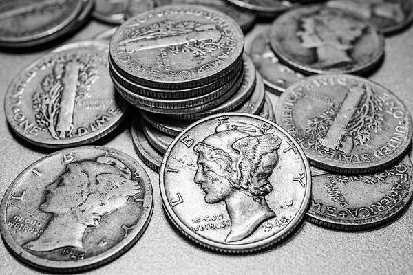 Change Photograph - Mercury Dimes by Tom Mc Nemar