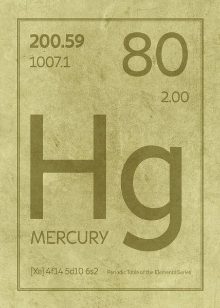 Elements Mixed Media - Mercury Element Symbol Periodic Table Series 080 by Design Turnpike
