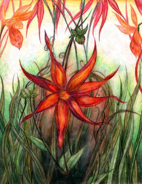 Rust Drawing - Mercury Flower by Rebecca Tripp