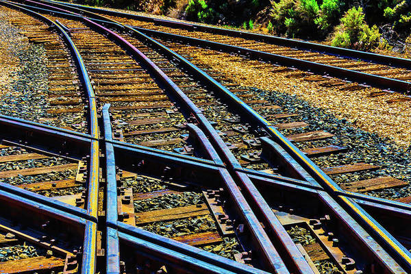Railroad Tie Wall Art - Photograph - Merging Tracks by Garry Gay