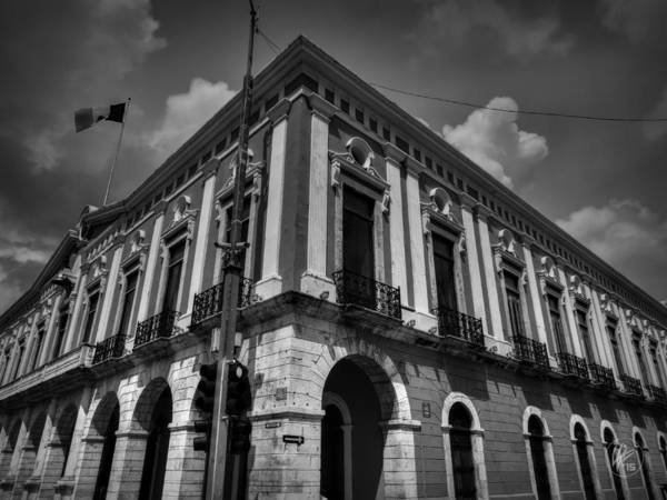 Photograph - Merida - Government Palace Of Yucatan 001 Bw by Lance Vaughn