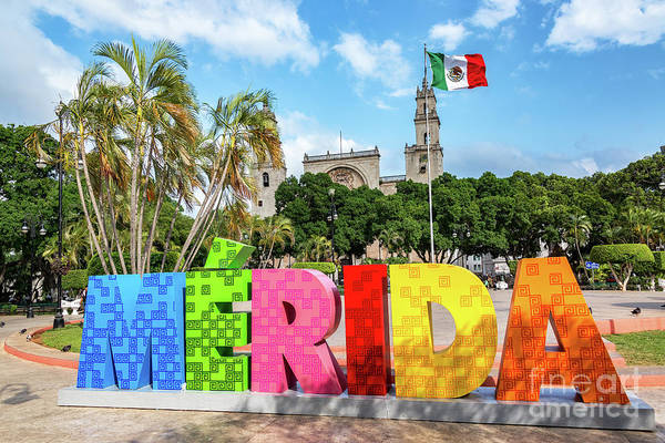 Wall Art - Photograph - Merida Sign And Cathedral by Jess Kraft