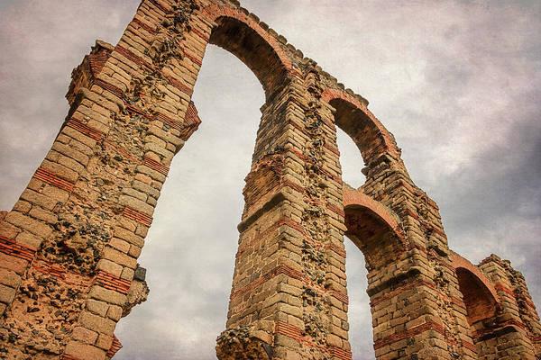Wall Art - Photograph - Merida Spain Aqueduct Dusk by Joan Carroll
